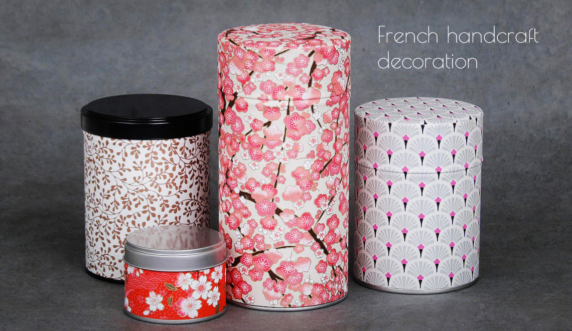 Handcraft washi tea tin
